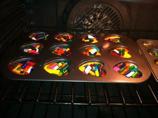Heart crayons in oven